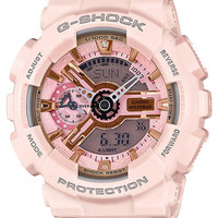 Casio Womens G-Shock S Series - Peach Case & Strap - Analog-Digital - Auto LED
