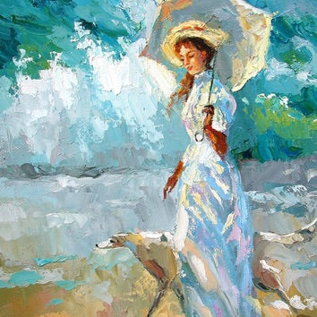 On a walk. High Quality Print on Canvas, Dmitry Spiros, living room decor wall art, home decor, house decor. sea painting.