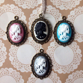 Skeleton cameo necklace, Skeleton Cameo pendant, Classic Cameo necklace,