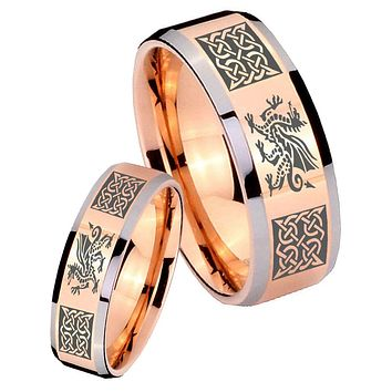 His Hers Rose Gold Beveled Multiple Dragon Celtic 2 Tone Tungsten Wedding Rings Set