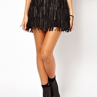 Black PU Leather Fringed Mini Skirt