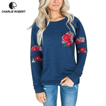 NEW Women Long Sleeve T-shirt knitted Tops Appliques Rose Tee Good Shirts Soft Tops