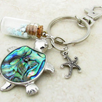 Sea Turtle Keychain, Turquoise Stones Keychain, Abalone Shell Turtle Keychain, Car Accessory, Beach Inspired Keyring