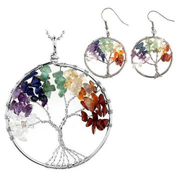 SHIP BY USPS:  7 Chakras Healing Crystal Quartz Tree of Life Necklace & Earrings Jewelry Set,Mothers Day Gifts