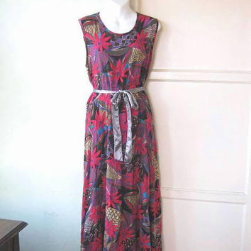 Red/Purple Floral Print Maxi Dress; Women's Large Tropical/Tribal Muumuu; Coastal/Casual/Beach/Cover-Up; U.S. Shipping Included