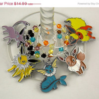 Pokemon inspired geeky wine glass charms set of 5 Japanese anime charms handmade wine charms party wine charms
