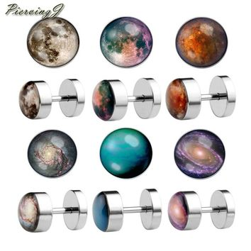 PiercingJ Fashion 16G Solar System Galaxy Universe Stainless Steel Stud Barbell Earrings Illusion Ear Plug 0G Gauge Look 6 Pair