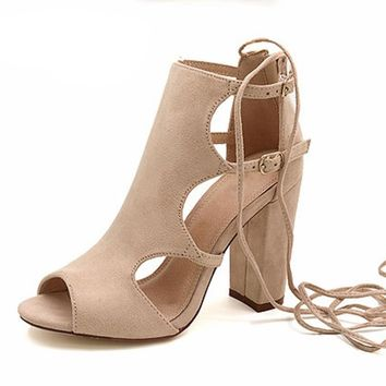 Gladiator Style High Heels Summer Fashion Pop Toe Shoes