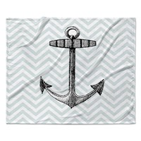 "Suzanne Carter ""Anchor"" Black Blue Fleece Throw Blanket"