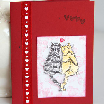 Cats' Love Greeting Card, Handmade Notecard for Cat Lovers, Feline Card, Blank Card for Wedding, Anniversary, Valentine's Day, Red Cats Card