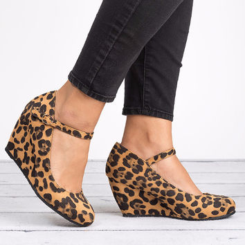 Mary Jane Wedge Pumps