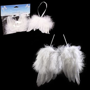 Mayitr White Angel Feather Wing Decoration Christmas Tree Party Hanging DIY Ornaments Home Party Decoration