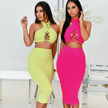 BKLD Hollow Out Sexy Bandage Crop Tops Outfits Neon Pink 2 Two Piece Set 2019 Summer Women Fashion Party Sexy Bodycon Skirt Sets