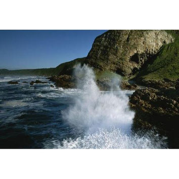 Waves pound the rocky coast of South Africa