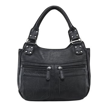 Hobo Bag Features Two Center Compartments with Zipper Eclosures - Black