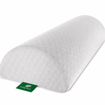 Back Pain Relief Half-Moon Bolster / Wedge by Cushy Form - Provides Best Support for Sleeping on Side or Back - Memory Foam Semi-Roll Pillow with Washable Organic Cotton Cover (Large, White)