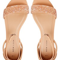 New Look Glass Nude Embellished Flat Sandals at asos.com