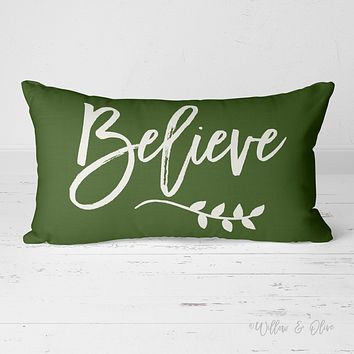 Decorative Lumbar Throw Pillow - Believe (pine green)