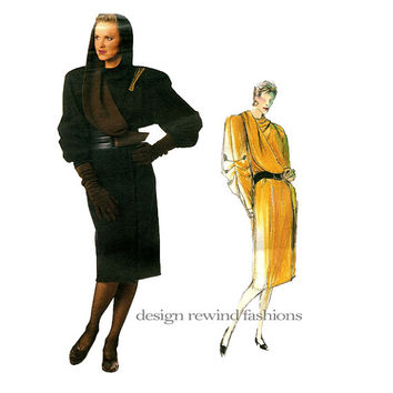 1980s CLAUDE MONTANA DRESS Pattern Vogue 1652 Individualist Military Style Hooded Wrap Dress Women's Vintage Sewing Patterns UNCuT Bust 36