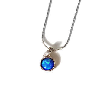 Blue Opal Necklace, Blue opal gemstone necklace, Blue opal pendant , Simple opal necklaces, Sterling leaf pendant, Round opal, Birthstone