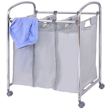 Laundry Cart Sorter With 3 Section Bags Storage