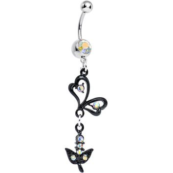 Aurora Gem Dark Paradise Orchid Flower Dangle Belly Ring
