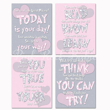 Baby girl room wall art nursery decor Dr Seuss Quotes kids artwork motivational print inspirational poster toddler decoration pink grey