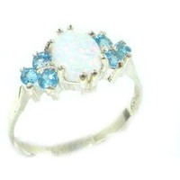 Ladies Contemporary Solid Sterling Silver Natural Opal & Blue Topaz Ring - Size 8.5 - Finger Sizes 5 to 12 Available