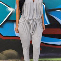 Gray Sleeveless Backless Pocket Harem Jumpsuit