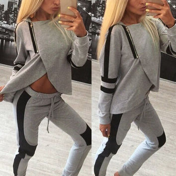 ZANZEA Fashion Women Hoodie Tracksuit Sweatshirt Coat Tops Casual Pants Sport Suit 2PCS 03-015