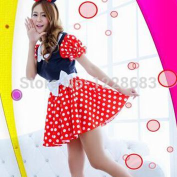 Free Shipping New Women Halloween Cosplay Costume Party Dress Sexy Minie Mouse Costumes Adults