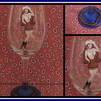 Hand Painted Cowgirl Pinup Wine Glass