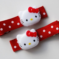 Set of 2 Red and White Polka Dot Hello Kitty by SaraOlsenDesigns