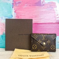 $520 LOUIS VUITTON Origami Brown Monogram Canvas Wallet Leather Bifold SALE! EUC