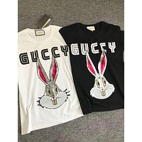 GUCCI Trending Women Men Stylish Rabbit Sequins Letter Print T-Shirt Top Blouse