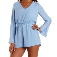 Light Blue Crochet-Trim Bell Sleeve Romper by Charlotte Russe