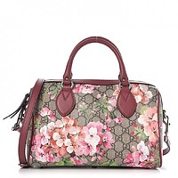 Gucci GG Supreme Monogram Blooms Top Handle Small Dry Rose