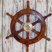 "13"" Wood / Brass Ship Wheel - Wooden Ships Wheel - Nautical Maritime Decor"