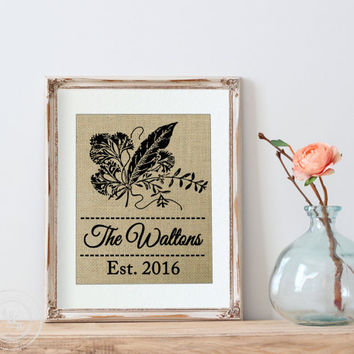 Kitchen Decor, Personalized Family Print, Housewarming Gift, Burlap Wall Art - Print Only, Home Decor, Vintage Rustic Kitchen, Wall Decor
