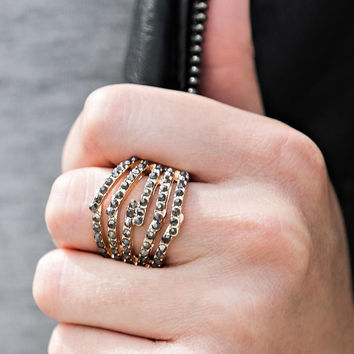 Paparazzi Stack Attack Gold Stretch Band Ring