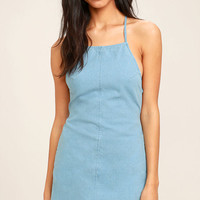 Little Miss Sunshine Light Blue Chambray Lace-Up Dress