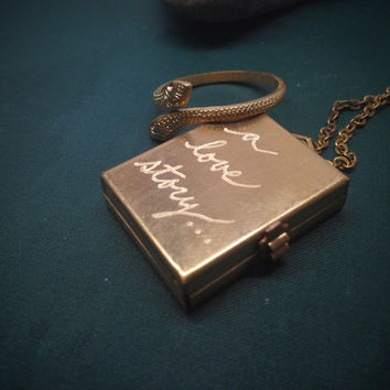 Hand Engraved Personalized Brass Box Locket  Necklace