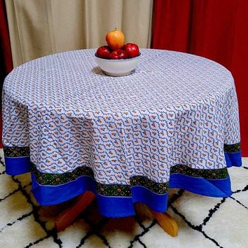 Floral Vine Tablecloth Round Square Table Linen Blue Green Gold Red