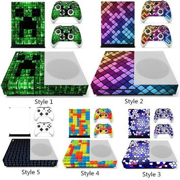 Fashionable Designer Skin Grid Square Vinyl Protective Decal Sticker For XBOX ONE S Gaming Console+2 Controller Cover Decal