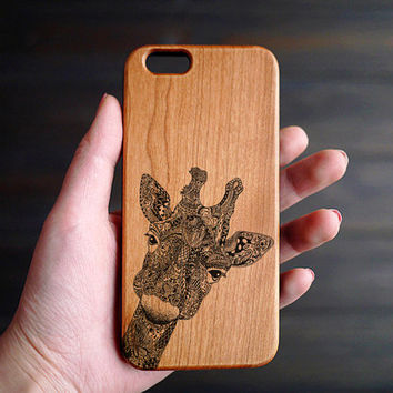 Giraffe iPhone 6 6s Case Wood , Personalized Wood iPhone 6 6s Case , Engraved iPhone 6 Wood Case , Wood Phone Case , Wooden iPhone 6 6s Case