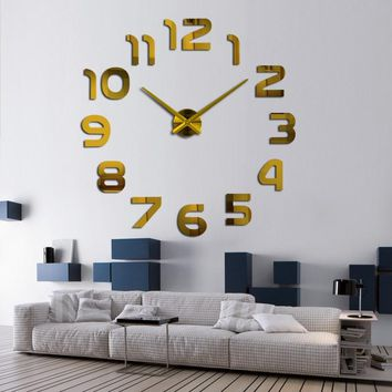3D Acrylic Mirror Numerals DIY Wall Clock - Large