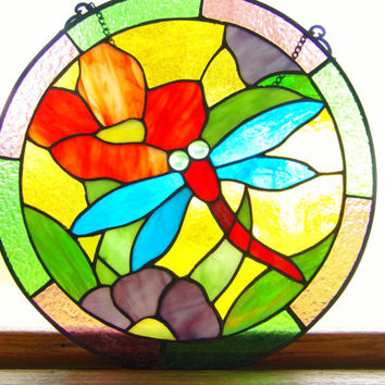 """Vintage 12"""" Stained Glass, round window hanging Beautiful. Stained glass, home decor, gift for her, gift for him, wall hanging"""