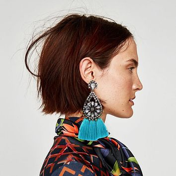 Ztech 2017 Mediterranean Style Trendy Statement Earrings Cotton Boho Tassel Earring Women Fashion Jewelry Fringing Earrings