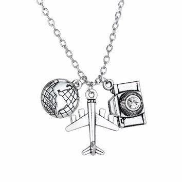 Trendy Camera Airplane Globe Earth Pendant Love Travel Necklace Travelling The World Wanderlust Travelers Necklaces Jewelry Gift