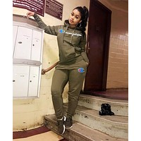 Champion Fashion Women Print Long Sleeve Hooded Sweater Pants Set Two-Piece Sportswear Army Green